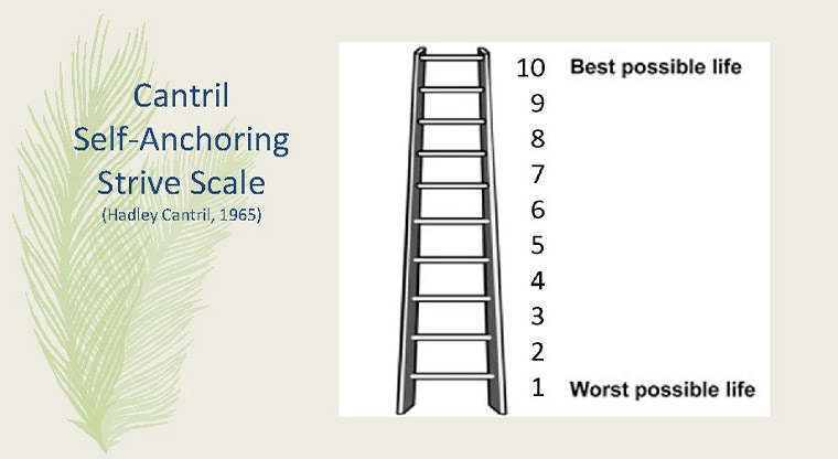 The Cantril Ladder: On which step would you say you personally feel you stand at this time?